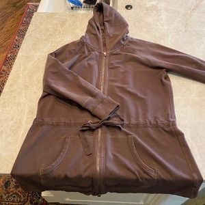 GAP ZIP FRONT HODDIE JACKET IN BROWN SIZE XL